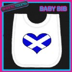 SCOTLAND SCOTTISH HEART FLAG I LOVE WHITE BABY BIB EMBROIDERED